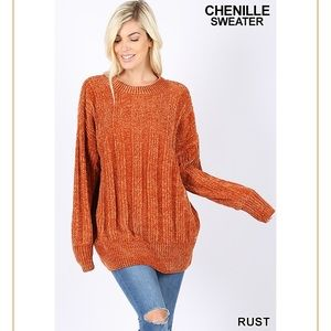 Pumpkin Spice Chenille Oversized Sweater